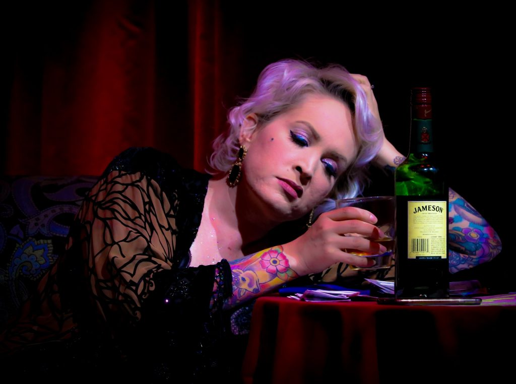 Woman drinking Irish whiskey