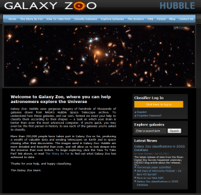 A screenshot of the Galaxy Zoo home page