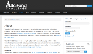 Scifund website screen shot